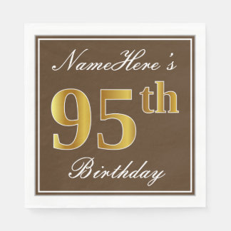 Elegant Brown, Faux Gold 95th Birthday + Name Disposable Serviette