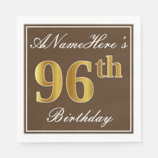 Elegant Brown, Faux Gold 96th Birthday + Name Disposable Serviette