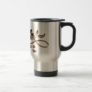 Elegant Brown Flower Stainless Steel Travel Mug