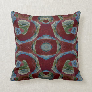 Elegant brown maroon blue abstract cushion