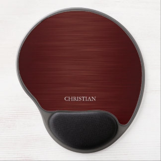 elegant brown metal personalized by name gel mouse pad