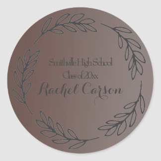 Elegant Brown Ombre' Leafy Frame Graduation Classic Round Sticker