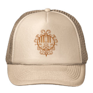 Elegant Brown Piano Keys Mesh Hats