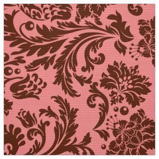 Elegant Brown & Pink Floral Damasks Fabric