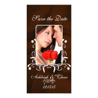 Elegant Brown Satin Save the DateYour Photo Photo Greeting Card