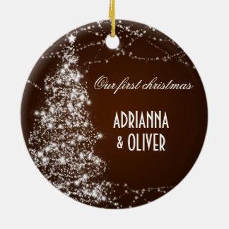 Elegant Brown Shimmering Tree First Christmas Round Ceramic Decoration