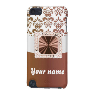 Elegant brown & white damask iPod touch (5th generation) cases