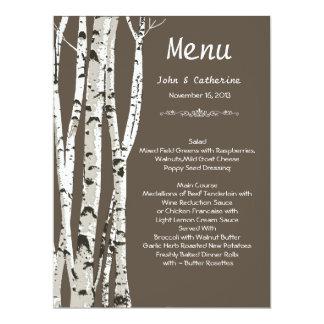 Elegant Brown with Birch Trees Wedding Menu 17 Cm X 22 Cm Invitation Card