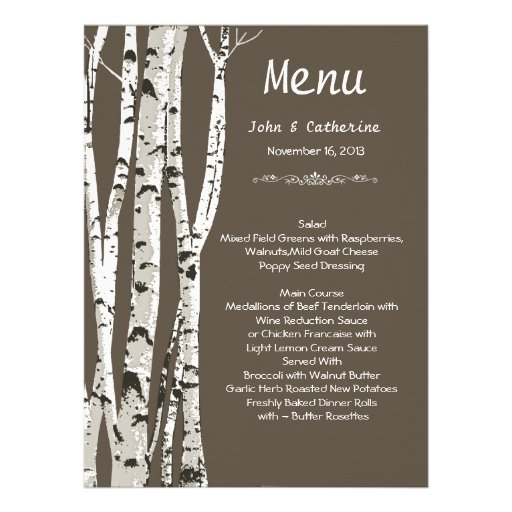 Elegant Brown with Birch Trees Wedding Menu Custom Invitation