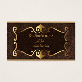 Elegant brown with golden framed self employed business card