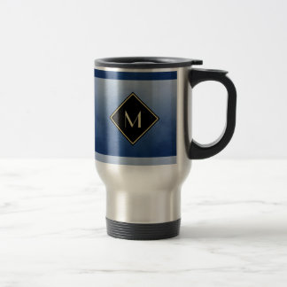 Elegant Brushed Blue With Simple Gold Monogram Stainless Steel Travel Mug