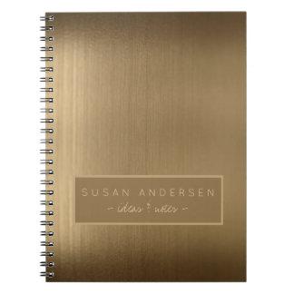 Elegant brushed copper metallic look professional spiral notebook