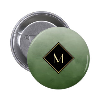 Elegant Brushed Green With Simple Gold Monogram 6 Cm Round Badge