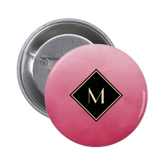 Elegant Brushed Pink With Simple Gold Monogram 6 Cm Round Badge