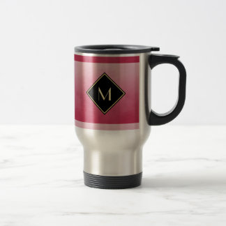 Elegant Brushed Pink With Simple Gold Monogram Stainless Steel Travel Mug
