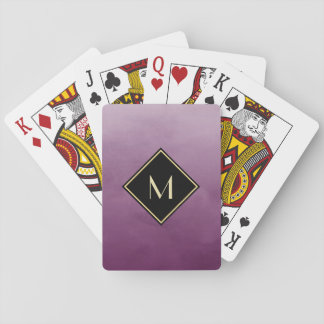Elegant Brushed Purple With Simple Gold Monogram Playing Cards