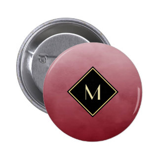 Elegant Brushed Red With Simple Gold Monogram 6 Cm Round Badge