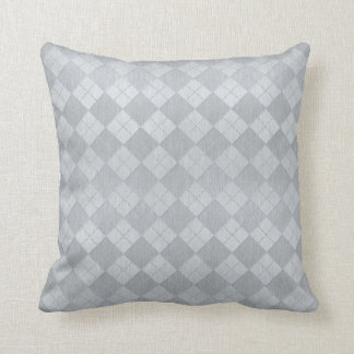 Elegant Brushed Silver Metal Look Argyle Pattern Cushion