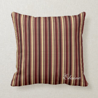 Elegant Burgundy Beige Stripes Custom Monogram Cushion