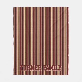 Elegant Burgundy Beige Stripes Custom Monogram Fleece Blanket