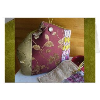 Elegant Burgundy Chartreuse Tapestry Tea Cozy 2 Card