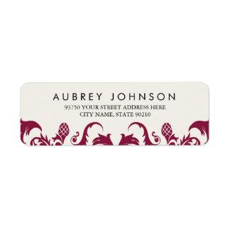 Elegant Burgundy Damask Address Labels