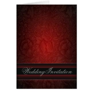 Elegant burgundy damask vintage Wedding Card