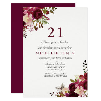Elegant Burgundy Floral 21st Birthday Invitation