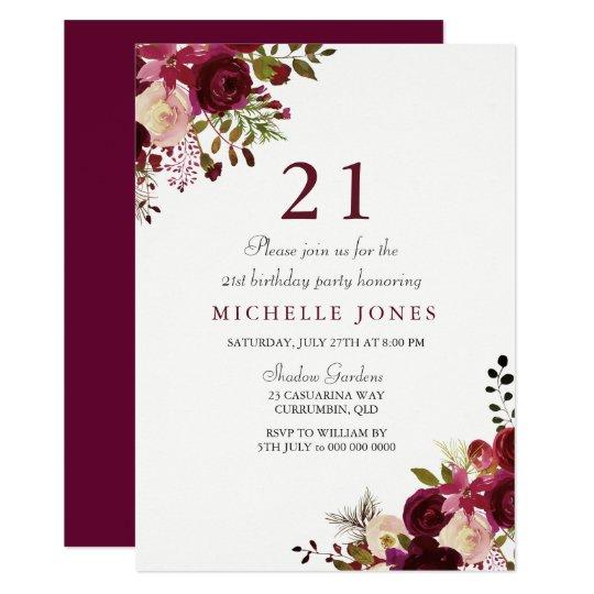Elegant Burgundy Floral 21st Birthday Invitation