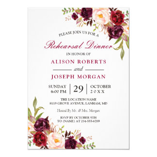 Elegant Burgundy Floral Wedding Rehearsal Dinner Card