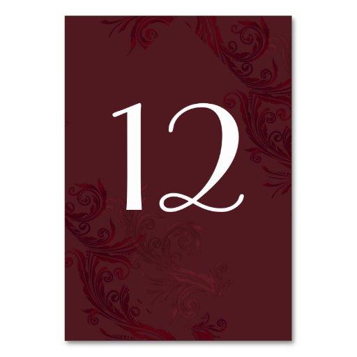 Elegant Burgundy Flourish Wedding Table Number Table Cards