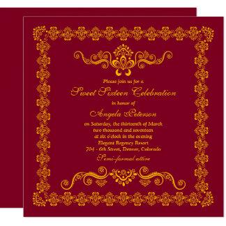 Elegant Burgundy Gold Sweet 16 Birthday 13 Cm X 13 Cm Square Invitation Card