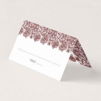 Elegant Burgundy Lace Wedding Place Card