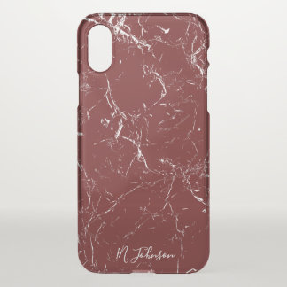 Elegant Burgundy Marble Personalized iPhone X Case
