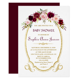 Elegant Burgundy Marsala Floral Fall Baby Shower Card