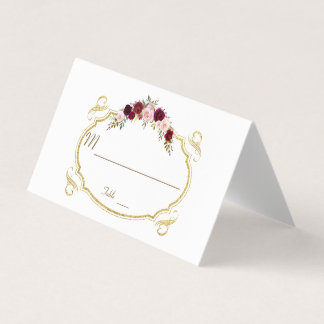Elegant Burgundy Marsala Floral Fall Table Number Place Card