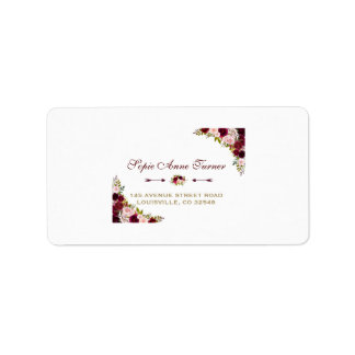Elegant Burgundy Marsala Floral Fall Wedding Address Label