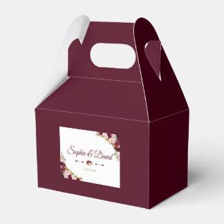 Elegant Burgundy Marsala Floral Fall Wedding Favour Box