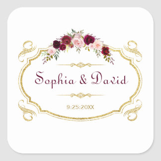 Elegant Burgundy Marsala Floral Fall Wedding Square Sticker