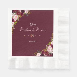 Elegant Burgundy Marsala Floral Wedding Disposable Serviettes