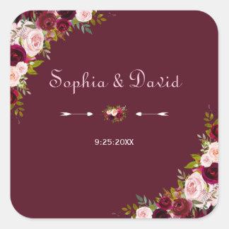 Elegant Burgundy Marsala Floral Wedding Square Sticker