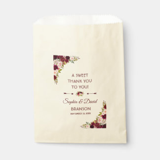 Elegant Burgundy Marsala Floral Wedding THANK YOU Favour Bag