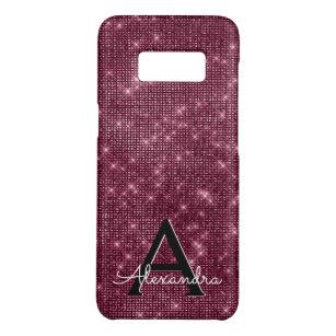 Elegant Burgundy Shimmer and Sparkle Monogram Case-Mate Samsung Galaxy S8 Case