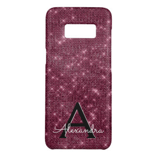 Elegant Burgundy Shimmer and Sparkle Monogram Case-Mate Samsung Galaxy S8 Case