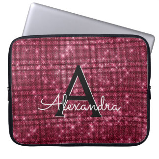 Elegant Burgundy Shimmer and Sparkle Monogram Laptop Sleeve