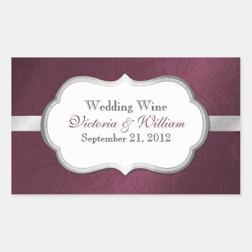 Elegant Burgundy & Silver Tone Wedding Sticker