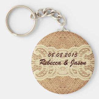 elegant  burlap lace country wedding thank you basic round button key ring