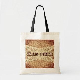 elegant   burlap lace country wedding bags