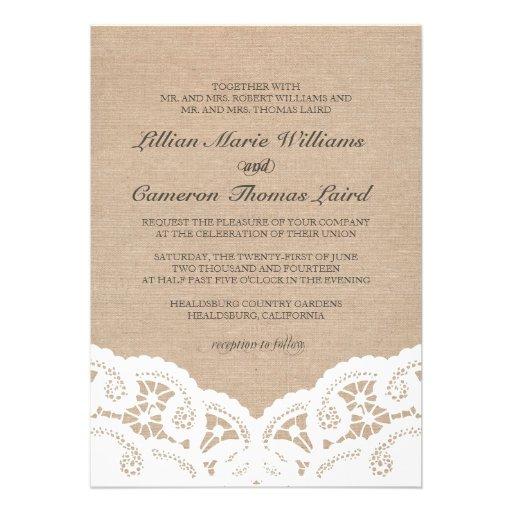 Elegant Burlap Lace Wedding Invitation Invite