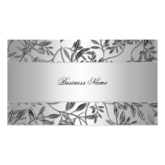 Elegant Business Card Floral Silver Plaque